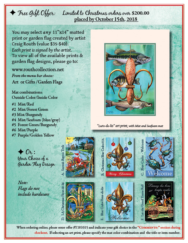 Routh Collection Louisiana Christmas Free Gift Offer 2017