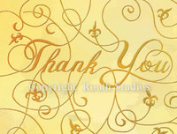 """Gold Thank You w/ Fleur-de-lis"" Note Cards"