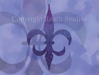 """Purple Majesty Fleur-de-lis"" Note Cards"