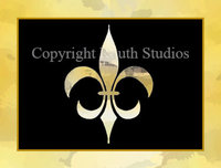 """Black & Gold Fleur-de-lis"" Note Cards"