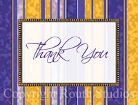 """Purple and Gold Thank You"" Note Cards"