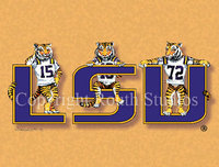 """LSU Tiger Trio Gold"" Note Cards"
