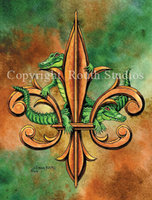 """Alligators & Fleur-de-lis"" Note Cards"