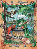 """Gator w/ Gumbo Pot"" Note Cards"