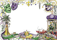 """Mardi Gras Collage"" Note Cards"