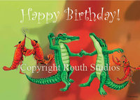 """Dancing Crawfish & Gators"" Birthday Card"