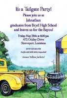 """Tailgate Party/Purple and Gold"" Invitations"