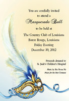 """Blue & Gold Masquerade"" Invitations"