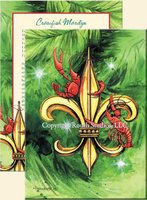 """Fleur-de-lis & Crawfish"" Christmas Cards"