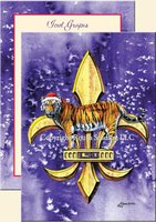 """LSU Christmas Tiger Fleur-de-lis"" Christmas Cards"