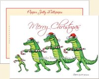 """Alligator & Frog Chorus Line"" Christmas Cards"