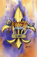 """Purple & Gold Mike the Tiger Fleur-de-lis"""