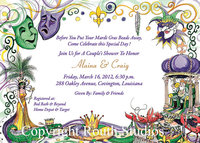 """Mardi Gras Collage"" Invitations"
