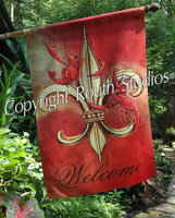 """Crawfish Fleur-de-lis"" Large Flags"