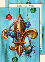 """Blue Crabs Christmas Fleur-de-Lis"" Christmas Cards"
