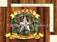 """Texas Christmas Wreath"", Texas Christmas Cards"