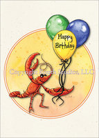 Crawfish with Balloons birthday card with envelope