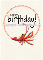 Crawfish Stitched Circle, birthday card with envelope