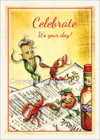 Crawfish, Corn & Potato Dance, birthday card with envelope