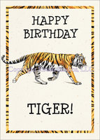 Tiger Stripes, birthday card with envelope