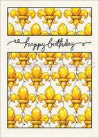 Fleur-de-lis Balloons, birthday card with envelope