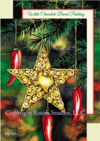 """Texas Star & Chili Peppers"" Christmas Cards, #CTX17B"