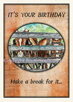 """Draught Horses Birthday"" Birthday Card"