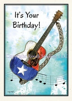 """Texas Birthday Guitar"" Birthday Card"