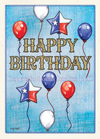 """Texas Balloon Birthday"" Birthday Card"