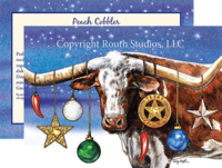 """A Texas Longhorn Starry Night"", Texas Christmas Cards"