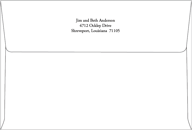 Return Address Printing: A8 Envelope (Back Flap) - Routh Studios, LLC