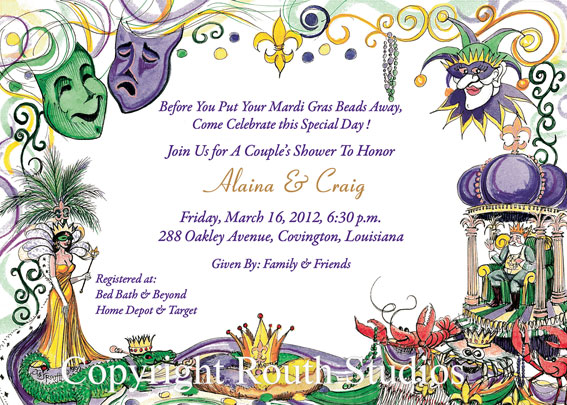 Mardi Gras Collage Invitations Routh Studios LLC