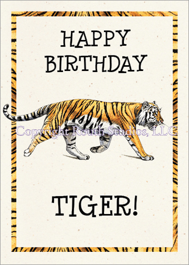 Tiger Stripes Birthday Card With Envelope Routh Studios Llc