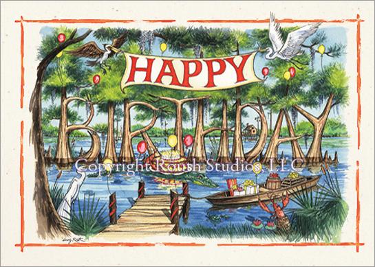 bayou cypress birthday  birthday card with envelope